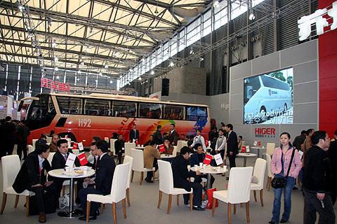 海格客车开放式展台受欢迎图片