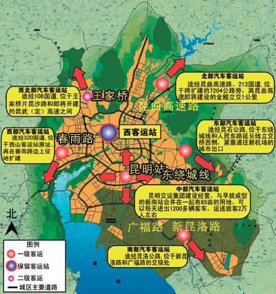 由于其南行300米即到火车站,东南行3000米就到飞机场,成为昆明最繁忙