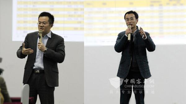 公司总经理蒋剑(右)和销售总经理陈海明分别作了发言