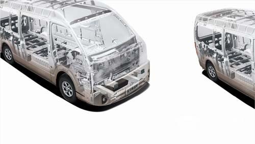 环全承载式车身结构,可整体吸收和迅速分解冲击能量