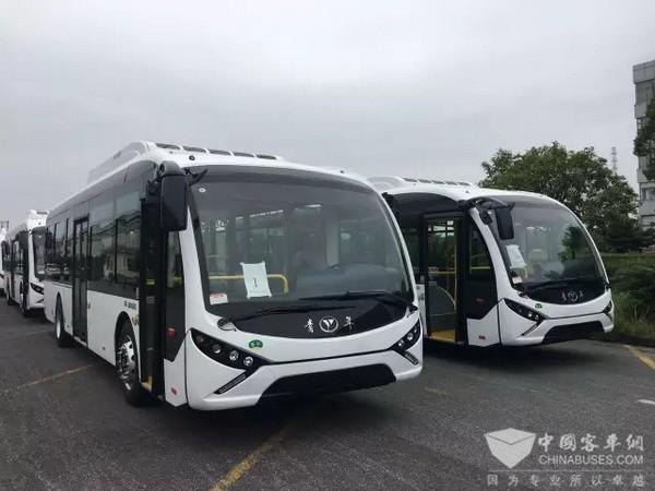 西安顺通142辆青年纯电动客车起运