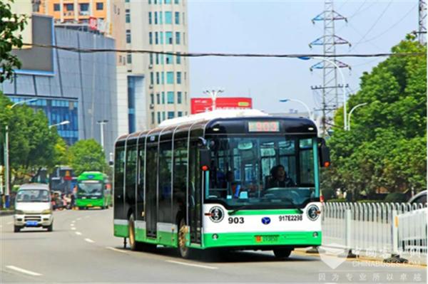 开启绿色出行新模式 武汉江夏新增近百台扬子江新能源公交