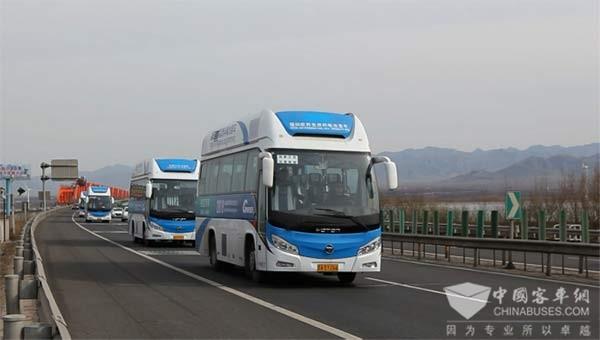 福田欧辉氢燃料电池客车作为官方指定用车,以绿色品质护航长城国际可再生能源论坛