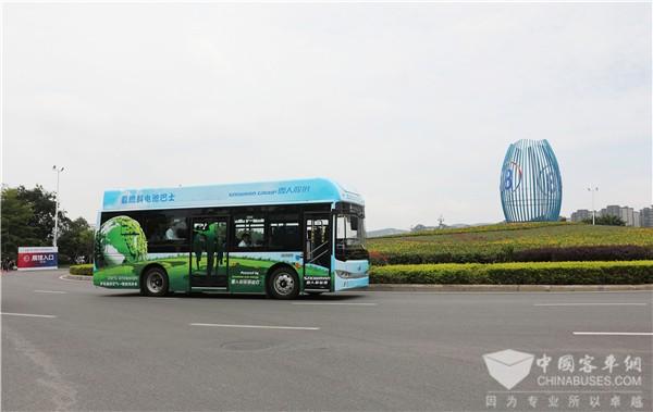 """""""氢""""新出行 福建首辆上路运行氢燃料客车""""金龙造"""""""