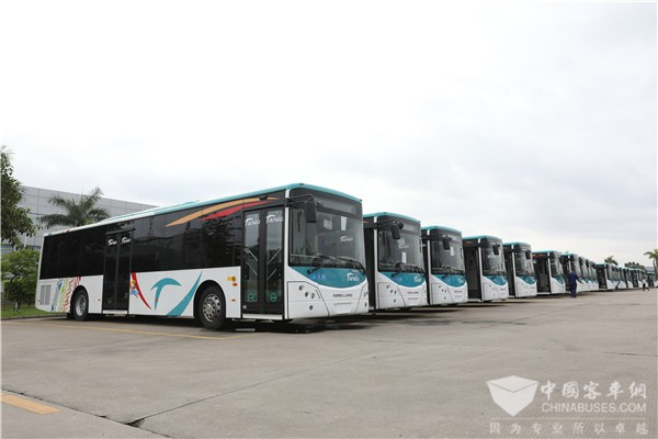 """""""美车""""配""""美景"""" 78辆金龙豪华公交在新喀里多尼亚首都上线"""
