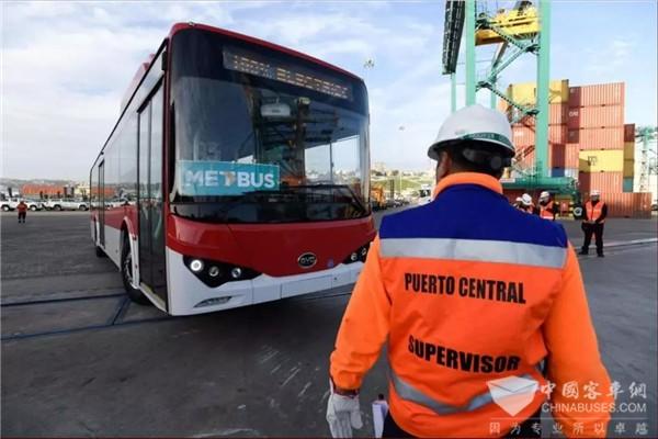 100辆比亚迪电动巴士登陆智利圣安东尼奥港