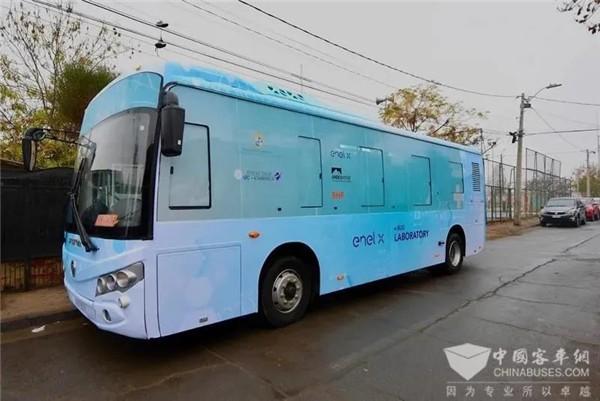 福田欧辉全新移动实验室纯电动客车在智利圣地亚哥上线运营