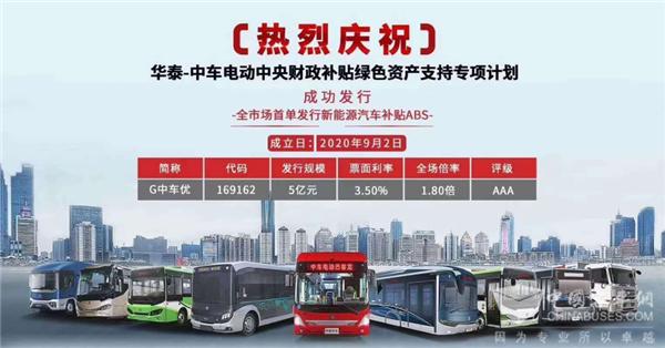 行业首单!中车电动新能源汽车补贴ABS成功发行