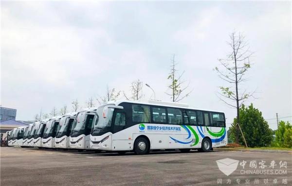 """""""绿色通勤车队""""开跑 银隆新能源经典公路车驶入湖南宁乡"""