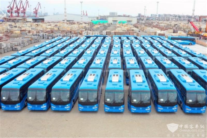 120台金旅校车装船赴加纳