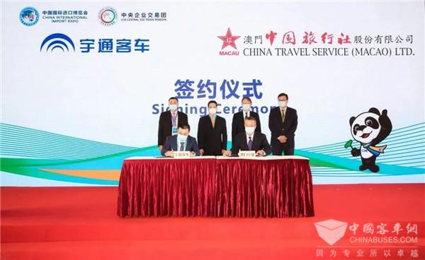 宇通获CGTN中国国际电视台点赞 进博会上携手澳门中旅再展实力