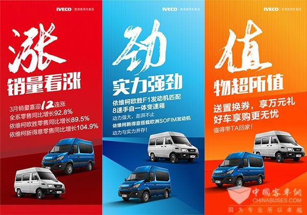 涨、劲、值! 3月份依维柯全系车型零售同比劲增92.8 %