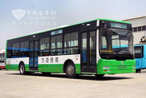 新能源公交车冠军的金旅混合动力客车高清图片