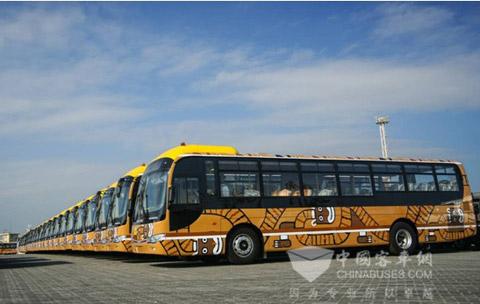 服务拉巴斯的大金龙公交车