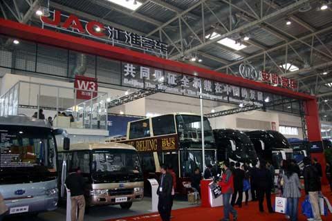 """安凯""""78座奔驰敞篷车""""亮相中国国际汽车零部件博览会"""